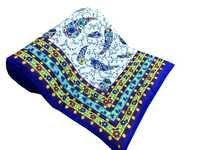 Blue Multi colour Printed Single Bed Quilt