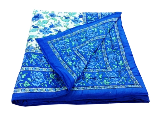 Blue Flower Printed Single Bed Quilt