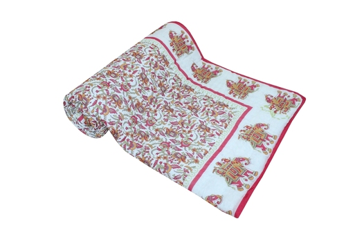 Cream base blue print with camel Single Bed Quilt