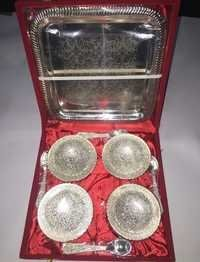 Brass 4 Pc Bowl Set With Tray