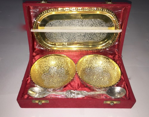 Gold Plated Brass Bowl Set With Tray