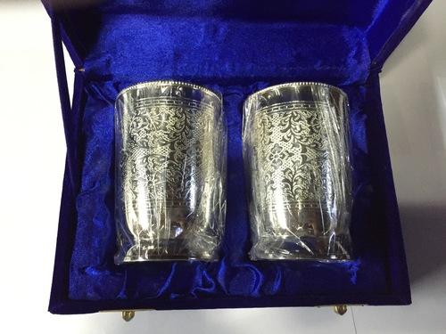 Brass Embossed Glass Set