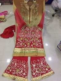 Gota shaded pure Georgette heavy suit