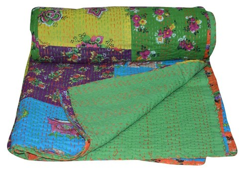 Indian Cotton Patch Work Kantha Quilt