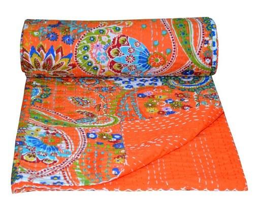 Twin Paisley Print Kantha Quilt Cotton Singal Size Gudari