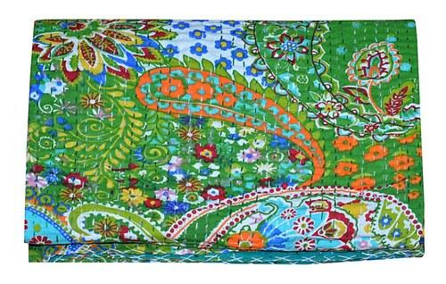 Green Paisley Print Kantha Gudari Cotton Kantha Quilt