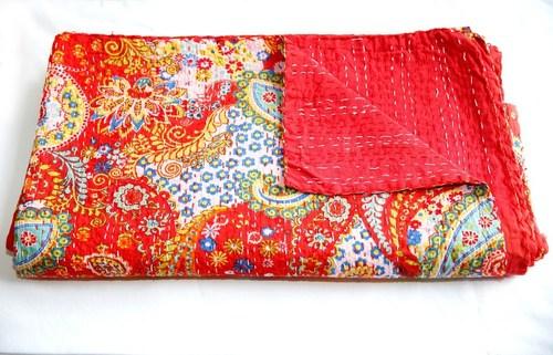 Red Paisley Print Signal Kantha Bedspreds
