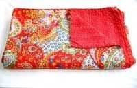 Red Paisley Print Signal Kantha Bedspreds