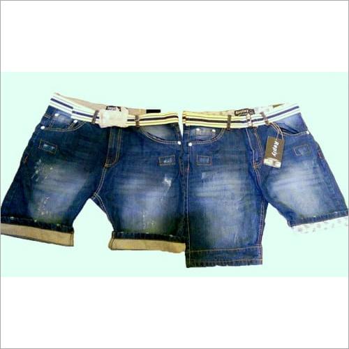 Denim Shorts With Bottom Fold