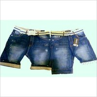 Denim Shorts With Bottom Fold