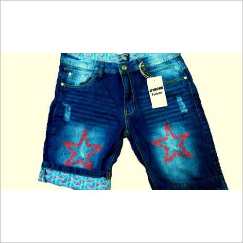 Embroidered Denim Short