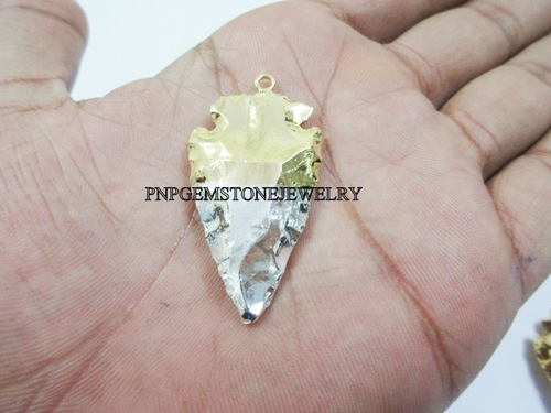 TRENDY HALF SILVER & HALF GOLD ARROWHEAD ELECTROPLATED PENDANT
