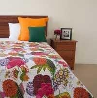 White Floral Print Kantha Blanket