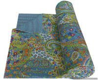 Paisley Twin Size Kantha Quilt