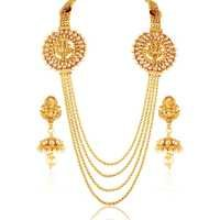 Multi-Layered Goldenenen Necklace With White Pearl