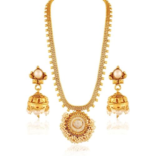 White Diamond Necklace With Pearl Jhumki