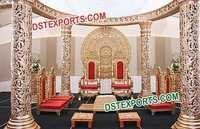 Wedding Golden Carved Open Style Mandap