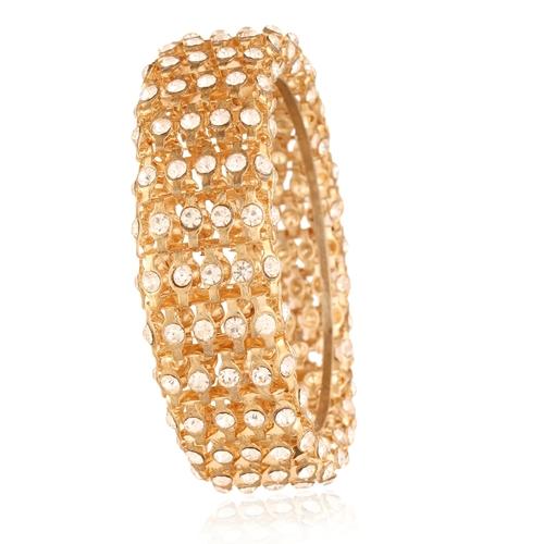 Interlink Chain Styled Diamond Golden Bracelet Bangle