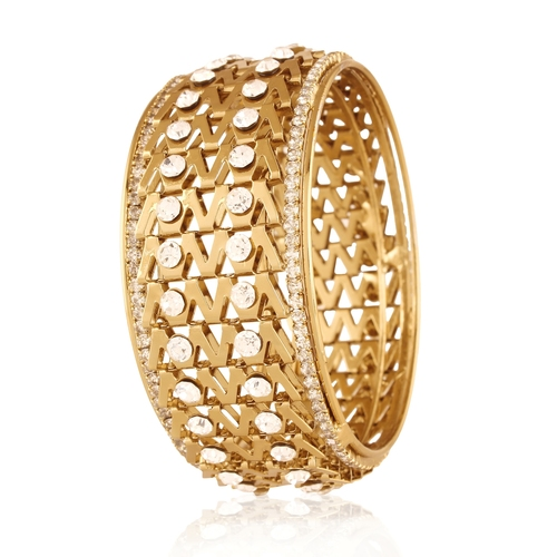 Interlink Zigzag Chain Gold Plated Bracelet Bangle For Women
