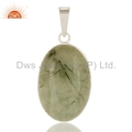 Prehnite Gemstone Sterling Silver Pendant