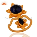 Blue Gemstone Gold Plated Ring Jewelry