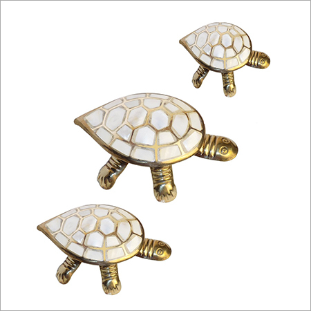 Set Of 3 Feng Shui Brass Turtle Family