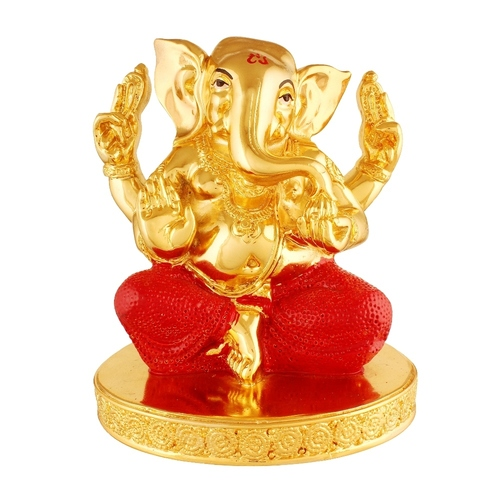 Gold Plated Brass Metal Gnesh Idol Statue