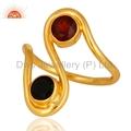 Black Onyx & Garnet 14K Gold Plated Ring