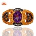 Amethyst Gemstone 18k Gold Plated Ring