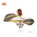 Dazzling Garnet 18k Gold Plated Brass Ring