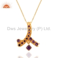 Amethyst Gold Plated Sterling Silver Pendant