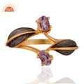 18k Gold Plated Amethyst Brass Ring