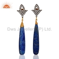 Gold Plated Lapis Lazuli & CZ Earrings