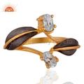 22K Gold Vermeil Blue Topaz Ring