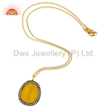 Moonstone Sterling Silver Gold Vermeil Pendant