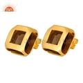 Gold Plated Brass Smoky Quartz Earrings