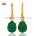 Gold Plated 925 Silver Green Onyx Gemstone Earrings Jewelry Supplier