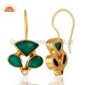 CZ Green Onyx Gemstone Brass Fashion Earrings Jewelry