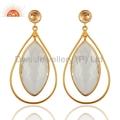 18K Gold Plated Quartz Crystal 925 Silver Earrings