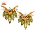 Peridot Gemstone & CZ 18K Gold On Sterling Silver Earring