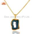 Blue Agate Druzy Gold Vermeil Pendant