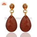Silver Red Sun Stone Gemstone Earrings Jewelry