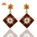 24k Gold Vermeil Garnet Gemstone Earrings