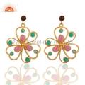 18k Gold Vermeil Glass Pink & Hydro Green Earrings