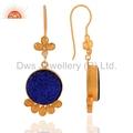 Gold Vermeil Blue Druzy Quartz Earrigns