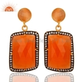 Peach Moonstone 14K Gold Vermeil Earrings