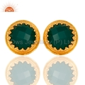 Green Onyx Gold Plated Brass Earrings