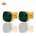 Green Onyx Gemstone Gold Vermeil Earrings