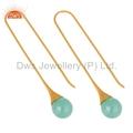 14K Gold Vermeil Glass Aqua Chalcedony Briolette Earrings