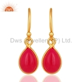 Pink Chalcedony Gold Plated Silver Earrings